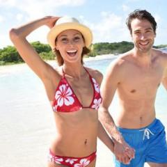 Плаж, море, младежи, двойка